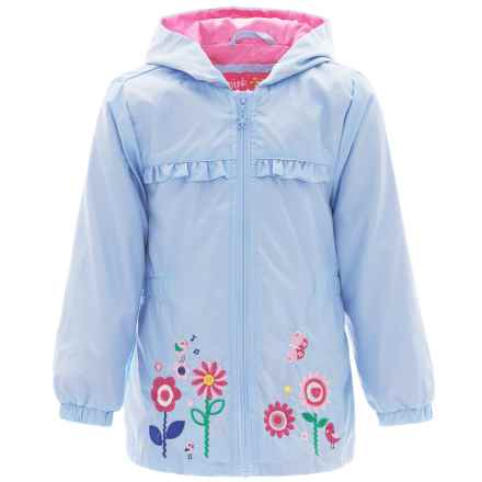 Pink Platinum Garden Windbreaker Jacket - Hooded (For Toddler Girls) in Blue - Closeouts