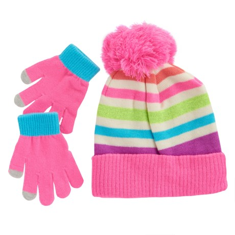 Pink Platinum Hat and Gloves - Touchscreen Compatible (For Big Girls) in Sugar Plum