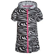 Pink Platinum Hooded Swimsuit Cover-Up Dress - Full Zip, Short Sleeve (For Little Girls) in Black - Closeouts