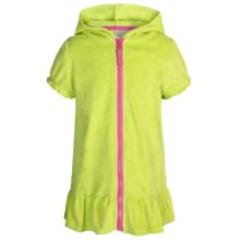 Pink Platinum Hooded Swimsuit Cover-Up Dress - Full Zip, Short Sleeve (For Little Girls) in Lime - Closeouts