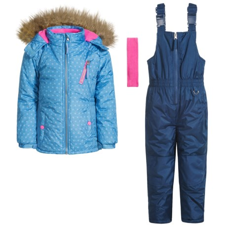 Pink Platinum Printed Faux-Fur Snowsuit Set - Insulated (For Little Girls) in Periwinkle