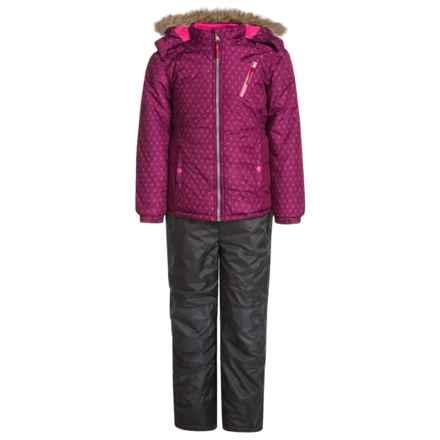 Pink Platinum Printed Snowsuit Set - Insulated, Faux-Fur Trim (For Big Girls) in Magenta - Closeouts