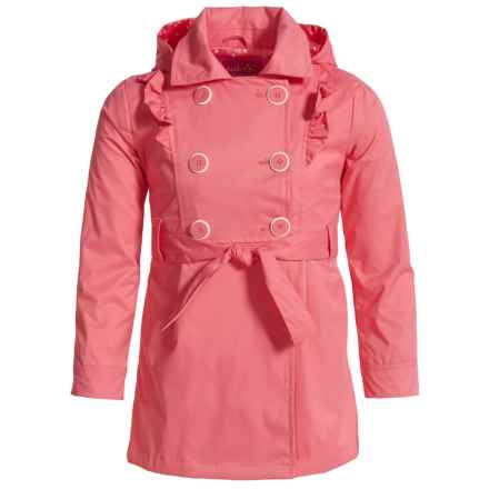 Pink Platinum Ruffled Double-Breasted Trench Coat (For Little Girls) in Coral - Closeouts