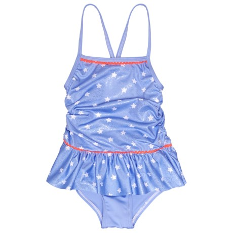 Pink Platinum Star Foil One-Piece Swimsuit (For Little Girls) in Blue