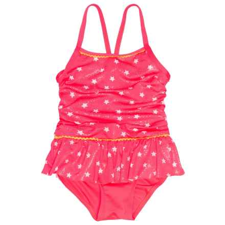 Pink Platinum Star Foil One-Piece Swimsuit (For Little Girls) in Diva Pink - Closeouts