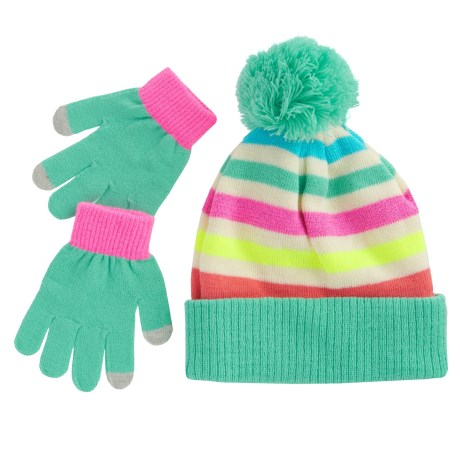 Pink Platinum Stripe Hat and Gloves - Touchscreen Compatible (For Little Girls) in Soft Seafoam