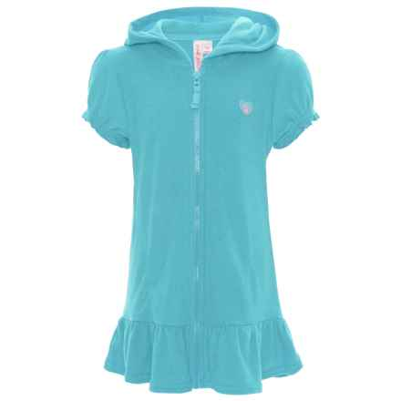 Pink Platinum Terry Hooded Swimsuit Cover-Up - Short Sleeve (For Little Girls) in Blue Fish - Closeouts