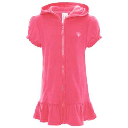 Pink Platinum Terry Hooded Swimsuit Cover-Up - Short Sleeve (For Little Girls) in Knockout Pink - Closeouts