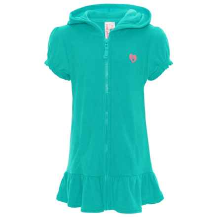 Pink Platinum Terry Hooded Swimsuit Cover-Up - Short Sleeve (For Little Girls) in Seafoam - Closeouts