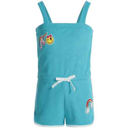 Pink Platinum Terry Romper Cover-Up - Sleeveless (For Little Girls) in Blue Fish - Closeouts