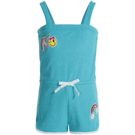 Pink Platinum Terry Romper Cover-Up - Sleeveless (For Toddler Girls) in Blue Fish