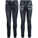 Pink Velvet Embellished Jeans - Skinny Fit (For Big Girls)