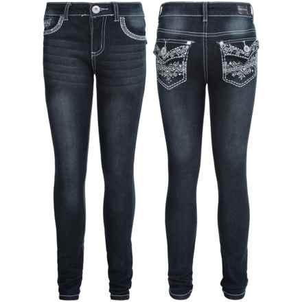 Pink Velvet Embellished Jeans - Skinny Fit (For Big Girls) in Black - Closeouts