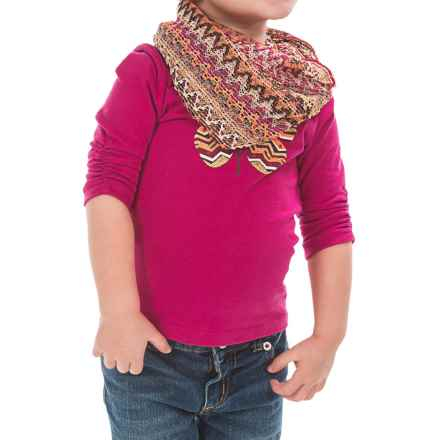 Pink Velvet Graphic Shirt and Scarf Set (For Little Girls) in Pink - Closeouts