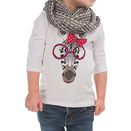 Pink Velvet Graphic Shirt and Scarf Set (For Little Girls) in White - Closeouts