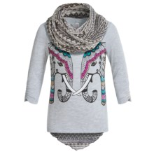 Pink Velvet Graphic Shirt and Scarf Set - Long Sleeve (For Big Girls) in Heather Grey - Closeouts