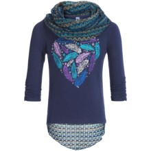 Pink Velvet Graphic Shirt and Scarf Set - Long Sleeve (For Big Girls) in Navy - Closeouts