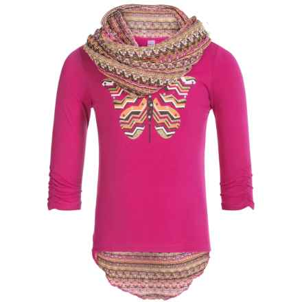 Pink Velvet Graphic Shirt and Scarf Set - Long Sleeve (For Big Girls) in Pink - Closeouts