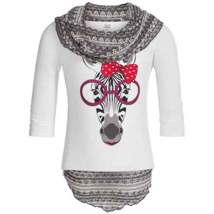 Pink Velvet Graphic Shirt and Scarf Set - Long Sleeve (For Big Girls) in White - Closeouts