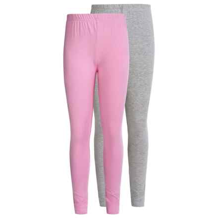 Pink Velvet Solid Cotton Leggings - 2-Pack (For Little and Big Girls) in Heather Grey/Prism Pink - Closeouts
