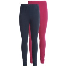 Pink Velvet Solid Cotton Leggings - 2-Pack (For Little and Big Girls) in Navy/Sangria - Closeouts
