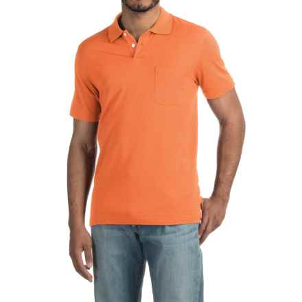 Pinstripe Polo Shirt - Short Sleeve (For Men) in Apricot - 2nds
