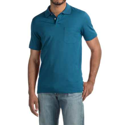 Pinstripe Polo Shirt - Short Sleeve (For Men) in Blue Sailing - 2nds