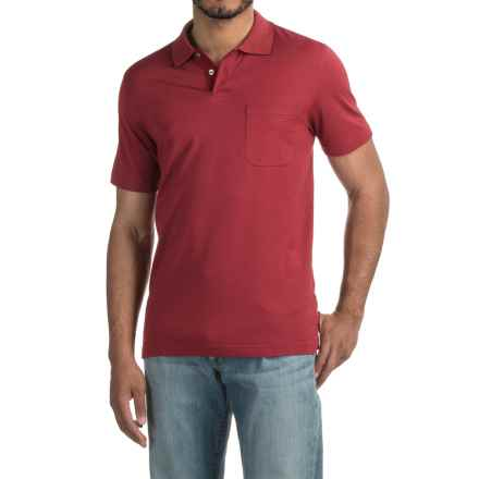 Pinstripe Polo Shirt - Short Sleeve (For Men) in Brick - 2nds