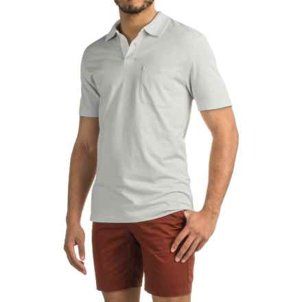 Pinstripe Polo Shirt - Short Sleeve (For Men) in Ivory - 2nds
