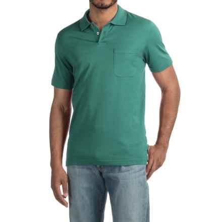 Pinstripe Polo Shirt - Short Sleeve (For Men) in Medium Green - 2nds