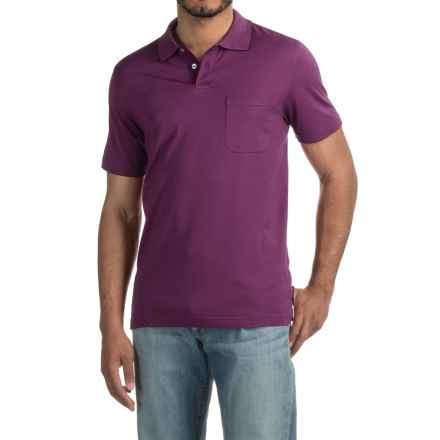 Pinstripe Polo Shirt - Short Sleeve (For Men) in Plum - 2nds