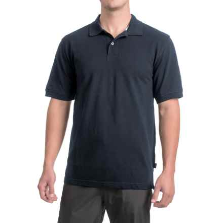 Pique Cotton Polo Shirt - Short Sleeve (For Men) in Navy - 2nds