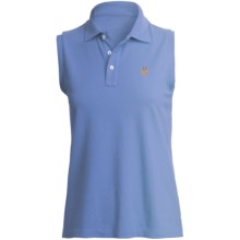 Pique Cotton Polo Shirt - Sleeveless (For Plus Size Women) in Medium Blue - 2nds