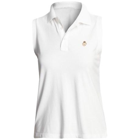Pique Cotton Polo Shirt - Sleeveless (For Plus Size Women) in White