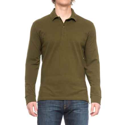 Pique-Knit Polo Shirt - Long Sleeve (For Big and Tall Men) in Basil - Closeouts