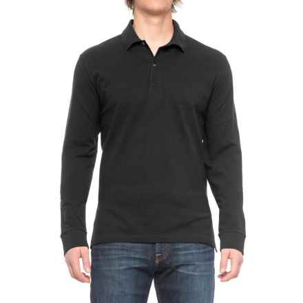 Pique-Knit Polo Shirt - Long Sleeve (For Big and Tall Men) in Black - Closeouts