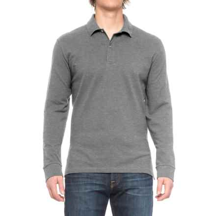 Pique-Knit Polo Shirt - Long Sleeve (For Big and Tall Men) in Grey Heather - Closeouts