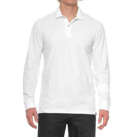 Pique-Knit Polo Shirt - Long Sleeve (For Big and Tall Men) in White - Closeouts