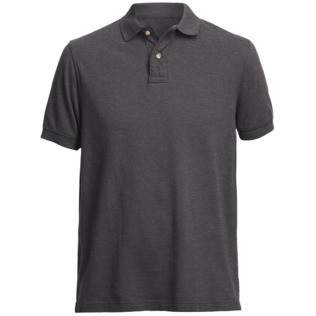 Pique Polo Shirt - Short Sleeve (For Men) in Charcoal