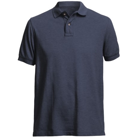 Pique Polo Shirt - Short Sleeve (For Men) in Navy