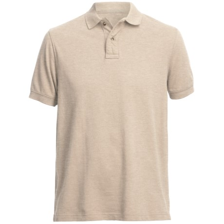 Pique Polo Shirt - Short Sleeve (For Men) in Oatmeal