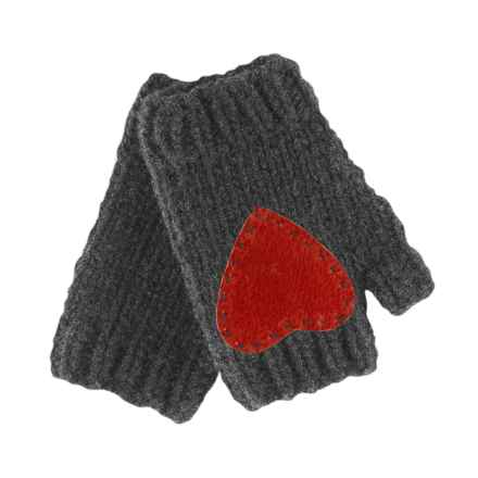 Pistil Flirt Heart Fingerless Mittens - Lambswool Blend (For Women) in Charcoal - Closeouts