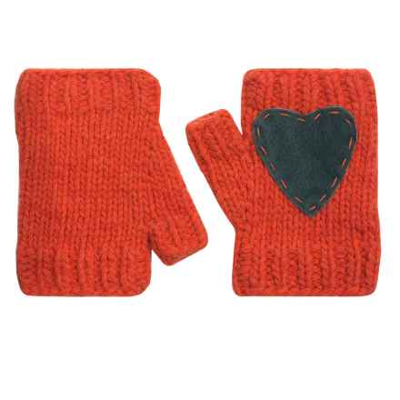 Pistil Flirt Heart Fingerless Mittens - Lambswool Blend (For Women) in Melon - Closeouts