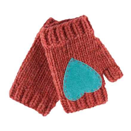 Pistil Flirt Heart Fingerless Mittens - Lambswool Blend (For Women) in Rhubarb - Closeouts