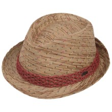 Pistil Frolic Fedora - Paper Straw (For Women) in Rhubarb - Closeouts