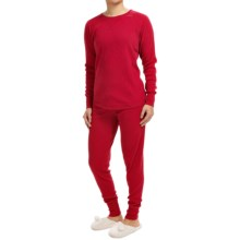 P.J. Salvage Brushed Thermal Ski Jammies - Long Sleeve (For Women) in Red - Closeouts
