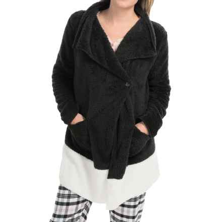 PJ Salvage Cozy Short Robe - Long Sleeve (For Women) in Black - Closeouts