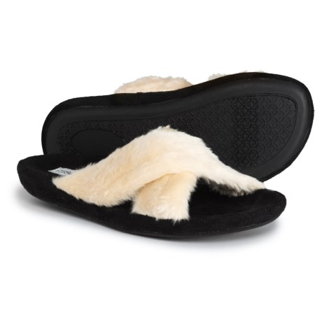 P.J. Salvage Faux-Fur Crossband Slippers (For Women) in Champagne f1667493b