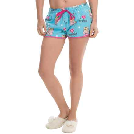 PJ Salvage Flannel Drawstring Shorts (For Women) in Aqua - Closeouts