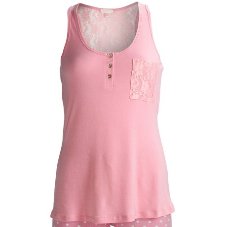 PJ Salvage Isla Bonita Lace Tank Top (For Women) in Pink